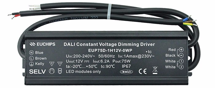 the latest design 200-240VAC 75W 1 channel IP67 waterproof dali constant voltage led dimmable driver
