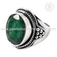 Exaggerated Emerald Gemstone Ring 925 Sterling Silver Jewelry Supplier Handmade Silver Jewelry Wholesaler