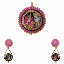 Pink Radha krishna painting pachi pendant jewelry set in wholesale price
