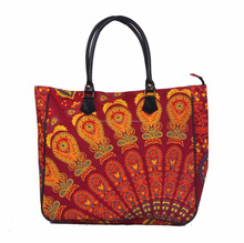 Mandala Red color made in india pure cotton shopping bad for ladies