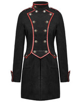 New style Punk Rave Womens Military Coat Jacket Black Red Goth Steampunk Vintage Army FC-2286
