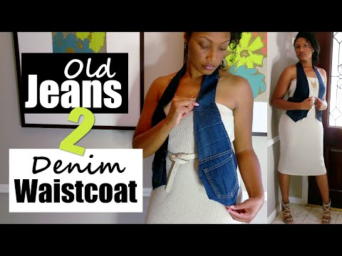 How To Turn Old Jeans into a Denim Waistcoat Vest No Sew) + Summer to Fall Lookbook | Blueprint DIY