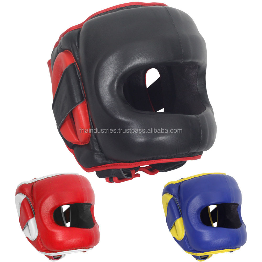 Deluxe Face Saver Boxing Headgear Traditional Leather Head guard for Boxing Kids Boys and Girls