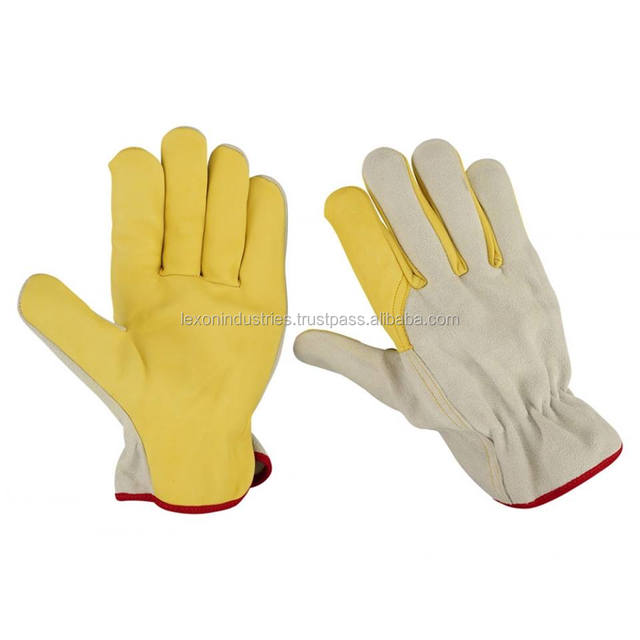 Goat Skin Leather Working Gloves / Safety Gloves