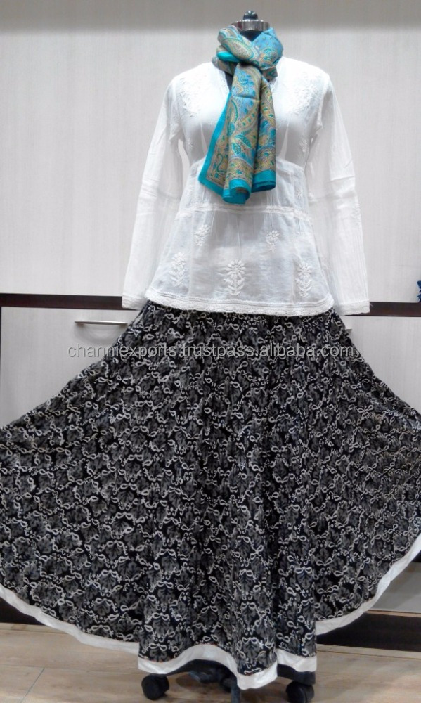 Ethnic wear indian multifrill cotton hand block printed skirts