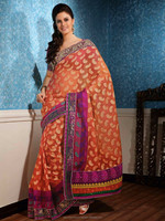 Contemporary Embroidered Saree Party Wear Peach Puff Banarasi Silk Saree DA809