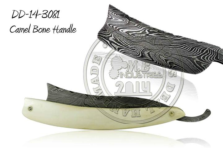 Damascus Steel Straight Razor Camel Bone Handle DD-14-3082