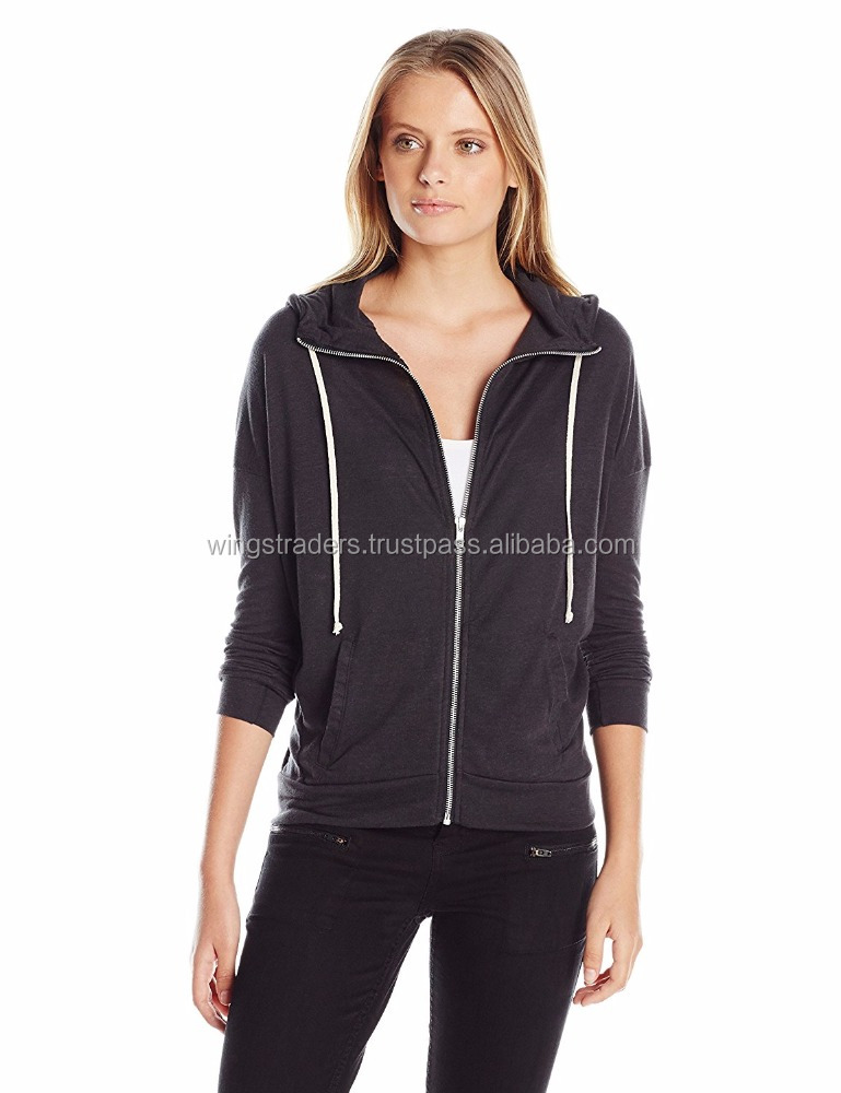 Women Jersey Cool Down Zip Hoodie Sweatshirt