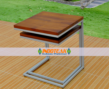 Galvanized Teak Sliding Table - Furniture Premium Grade For Hotel Project