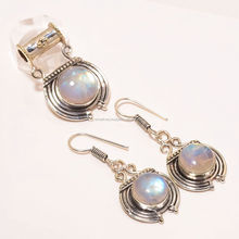 Rainbow Moonstone Round Gemstone Jewelry Set 925 Sun Silver Earrings And Pendant Manufacturer