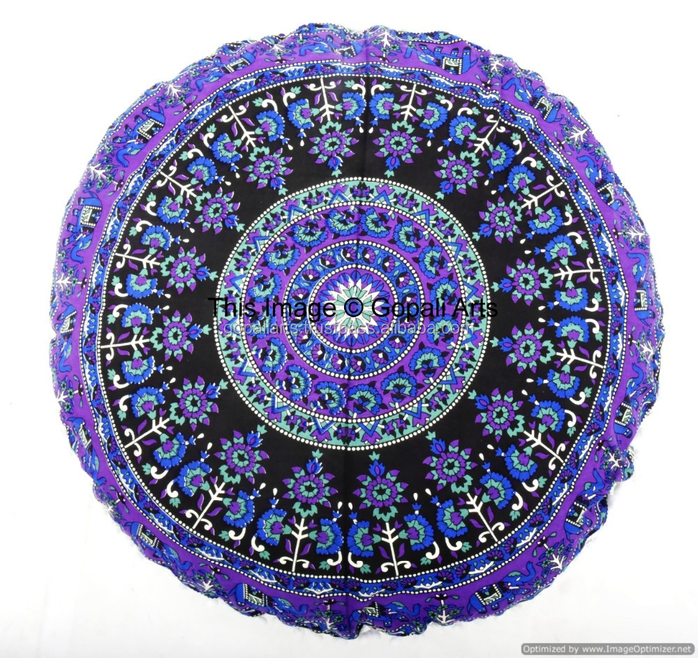 Elephant Mandala Round Designer Ottoman Floor Pillows Ethnic Boho Indian Art Cushion Throw
