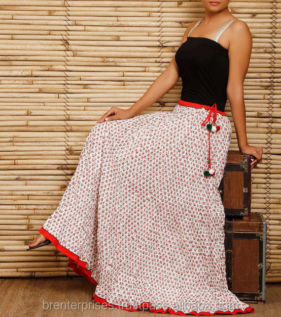100% cotton indian handmade wholesale long skirts