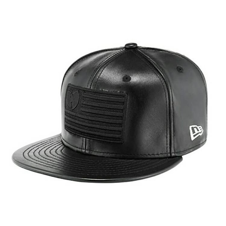 Design your own cap / Customize your own embroidered hat / Black leather snapback