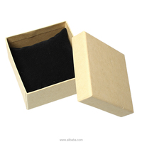 "Kraft Brown Paper & Sponge Pillow Jewelry Gift Watch Bracelet Boxes Square Light Brown 92mm(3 5/8"") x 92mm(3 5/8"") x 57mm(2 2/8"""