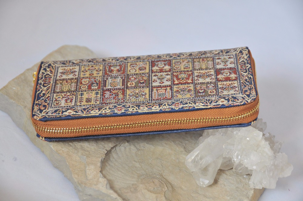 Woven Ladies Hand Purse with zipper (ladies hand wallet with Jacquard fabric) Miniature carpet hand purses