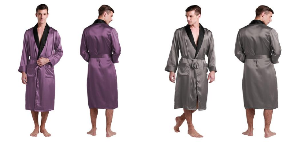 Silk Robes with Collar Banding For Men