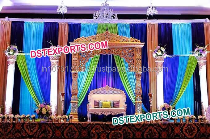 Wedding Reception Stage Decor Fiber Pillars Set Indian Decoration