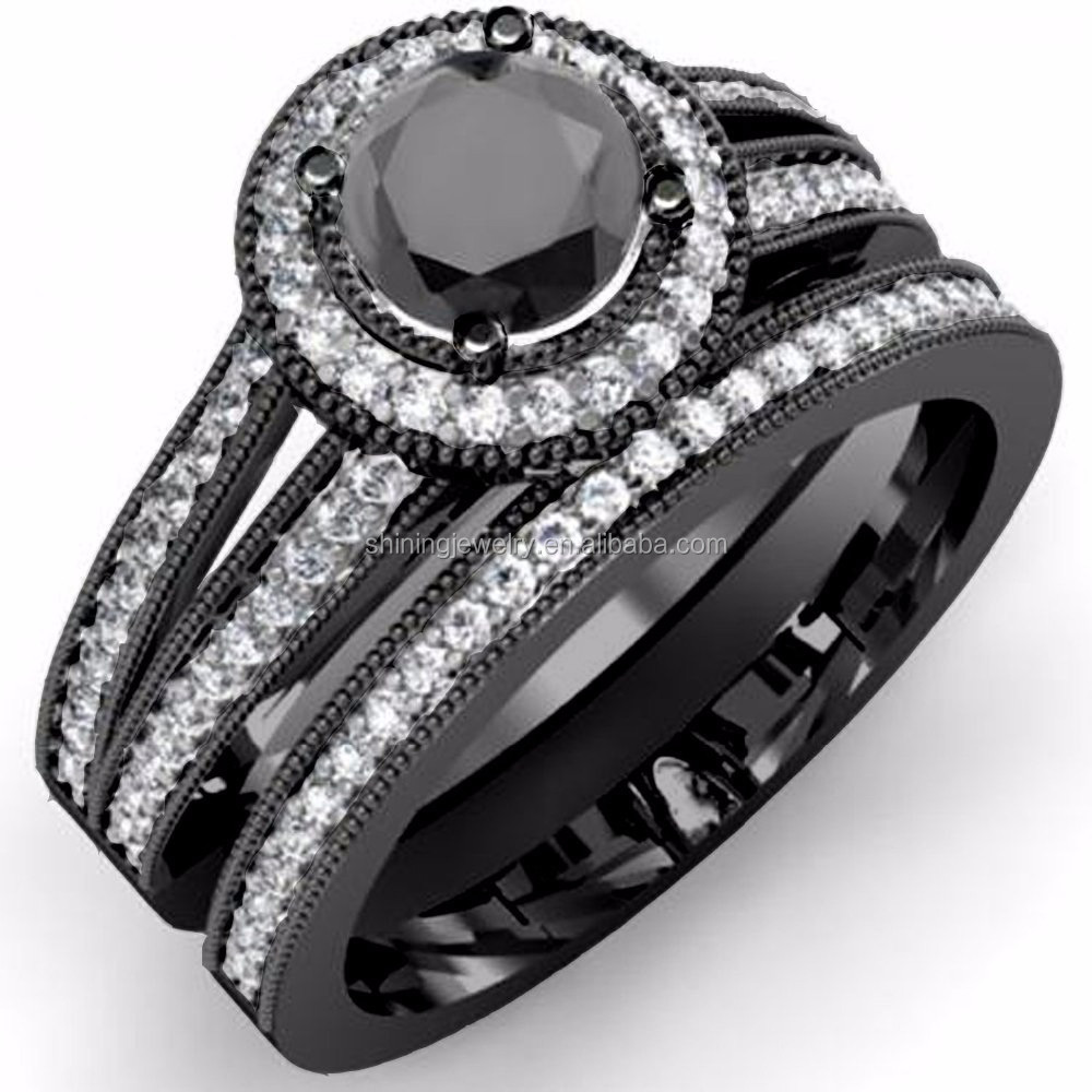 USA market like silver pave AAA quality black gold ring settings