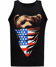 American Flag Bandanna Bear Men's Muscle Tee Tank Top