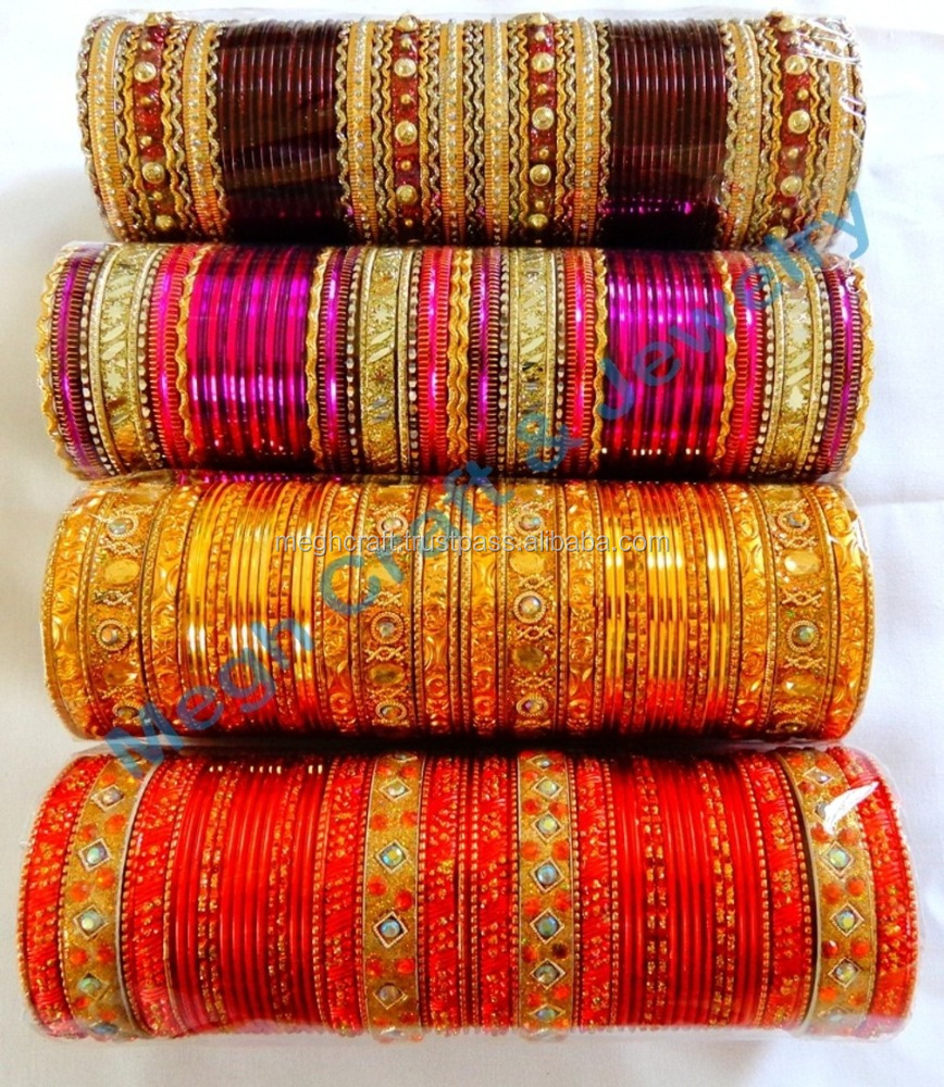 WEDDING WEAR BANGLE SET-PUNAJBI BRIDAL KANGAN SET-INDIAN BRIDAL KANGAN SET-INDIAN WOMAN DAILY WEAR METAL BANGLES WHOLESALE