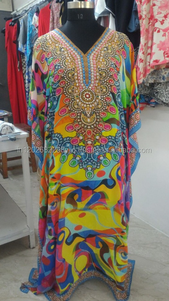 Pure Silk digital printed eveningwear long embellished kaftan