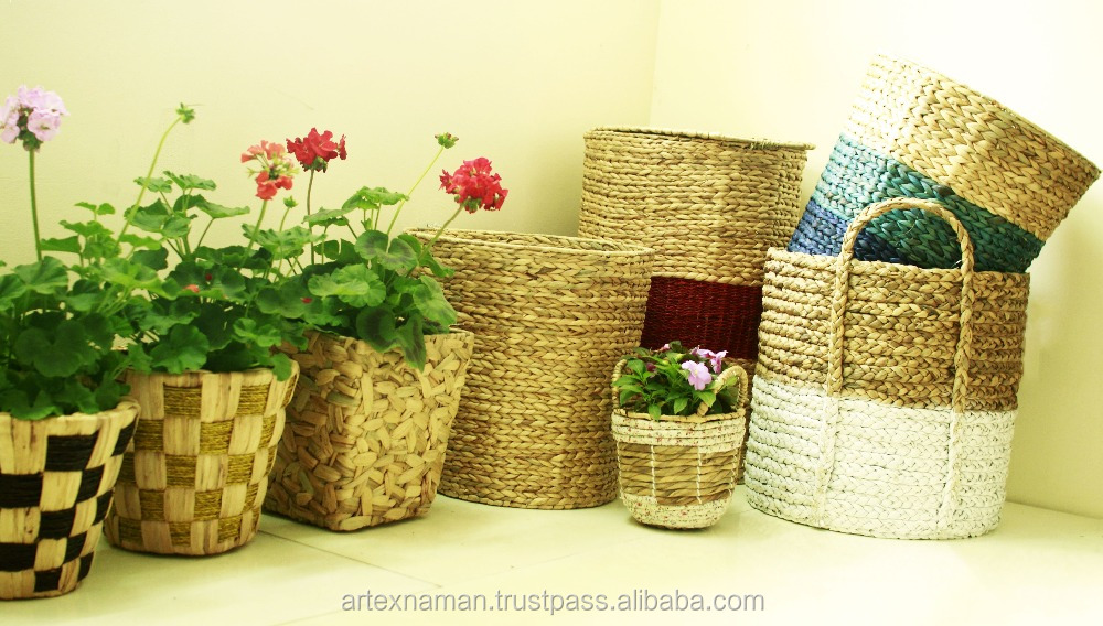 Home natural water hyacinth basket for storage, pop up water hyacinth laundry basket