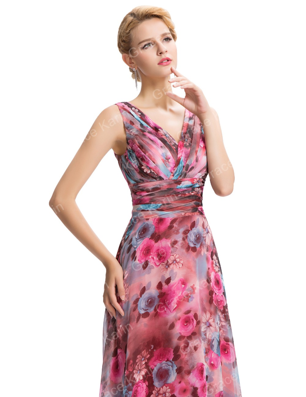 Grace Karin New Sleeveless V-Neck Floral Pattern Chiffon Long Bridesmaid Dress GK000058-1
