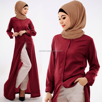 2 Pieces Full Button Long Top with Pants (Including Shawl and Belt)