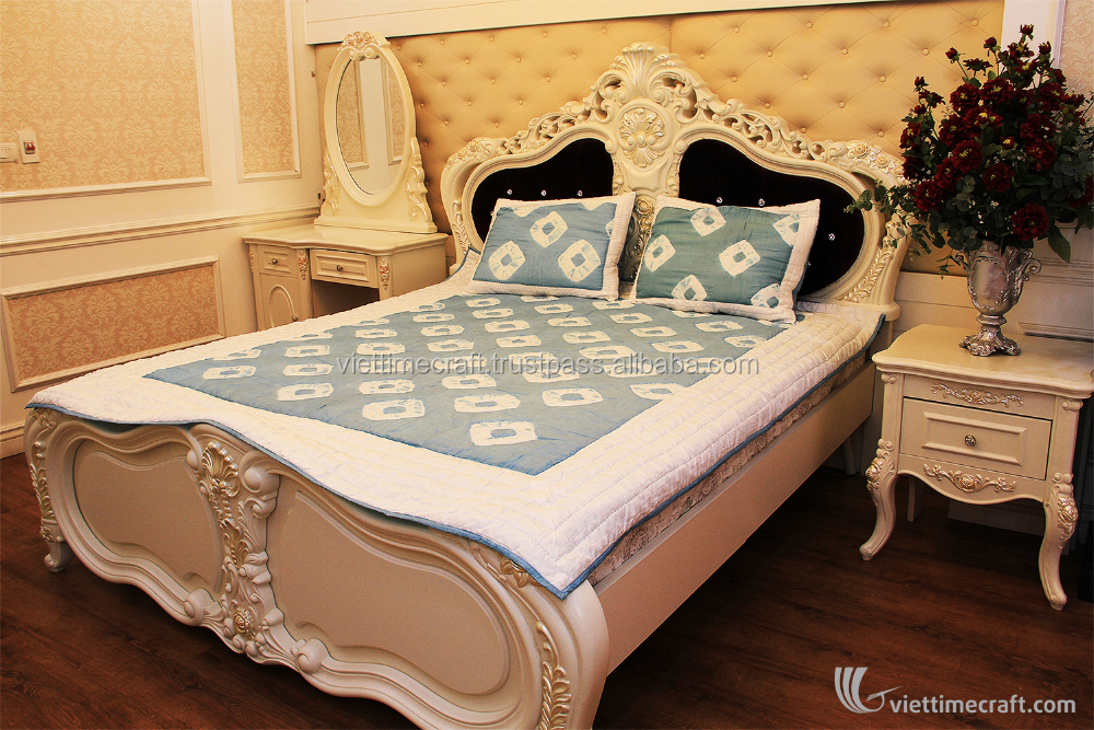 Luxurious Blue Spilled Color Blanket bedding set, 100% silk handicraft in vietnam, blanket and pillow cover