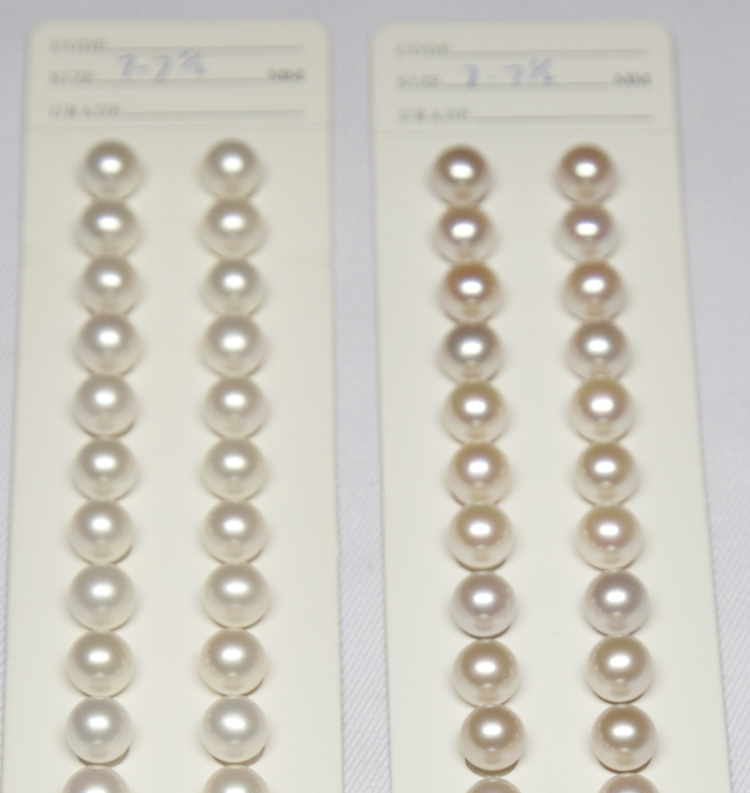7-7.5 mm A+ China Cultured Nearround White Pearl Pairs