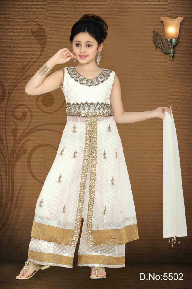 Pakistani Plazo Style Long Suits for Girls in White