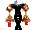 2015 BOLLYWOOD FASHION JHUMKA EARRINGS-WHOLESALE SOUTH INDIAN GOLD PLATED JHUMKA EARRINGS-PEARL JHUMKA EARRINGS ONLINE WHOLESALE