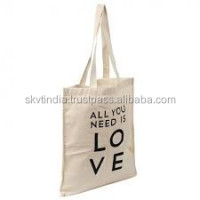 natural cotton woven grey fabric shopping bag