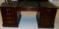Executive desk with leather inlay