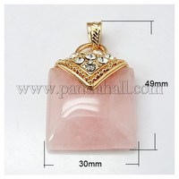 Gemstone Pendants, with Brass Findings and Rhinestone, Rose Quartz, Rectangle, Golden Metal Color, Pink, 49x30x7mm, Hole: 4x7mm