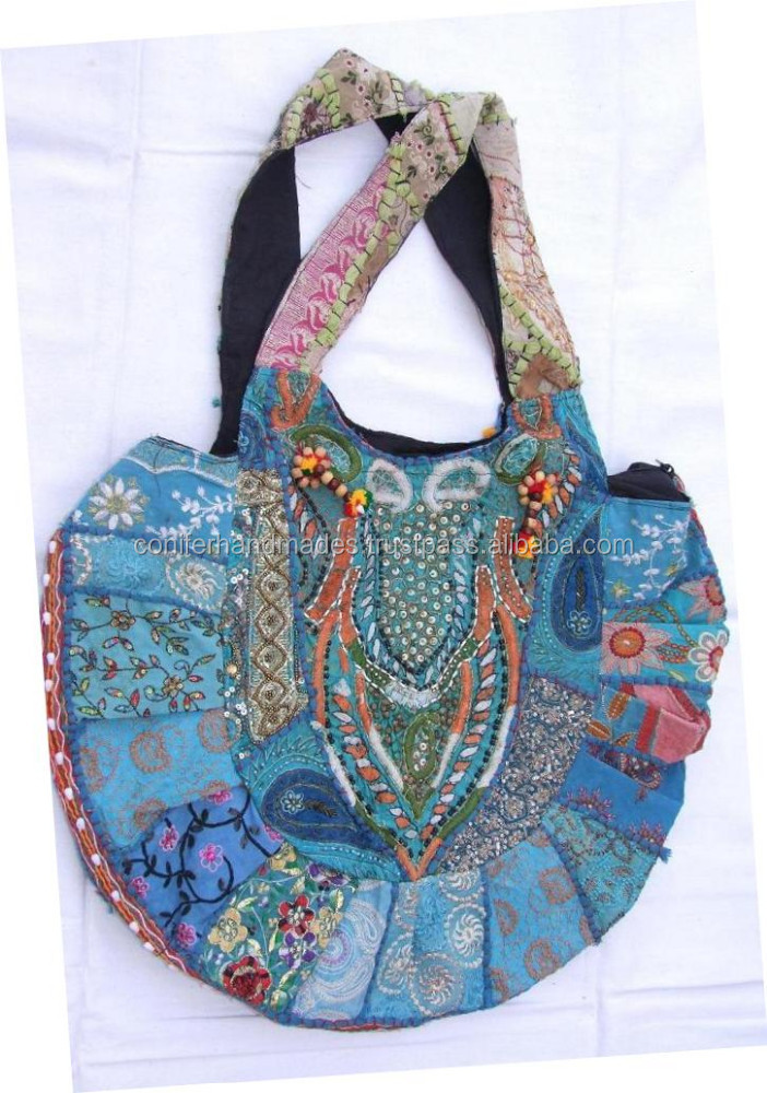 hand made patchwork textile fabric bags made from recycled fabric cut pieces suitable for fashion accessory stores