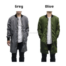 2017 Hot Selling Top Quality Custom Men's New Long line Bomber Jacket Warm Urban Parka Trench Style Coat LONG JACKET