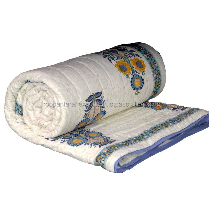 Blue Phoolbuta tradition Indian hand Block printed soft cotton quilt