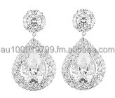 Dazzling Clear Cubic Zirconia Pear Drop Earrings
