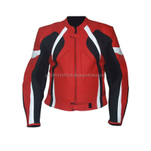 Mens Motorbike Red Leather Jacket