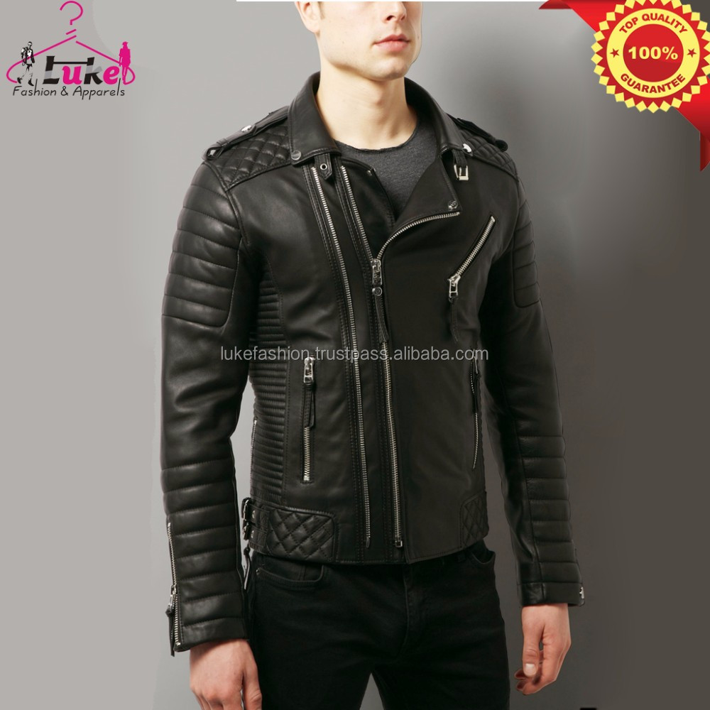 Men wolfskin quilted leather jacket with original ykk zippers