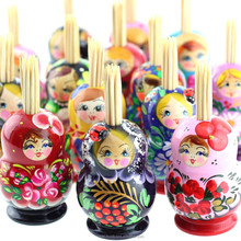 Matryoshka toothpick holder, wooden toothpick container, mix, AZ01