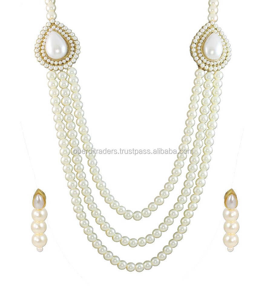 Riwaz Boutique Pearls White Multistrand Moti Rani Haar Necklace Set- For Women