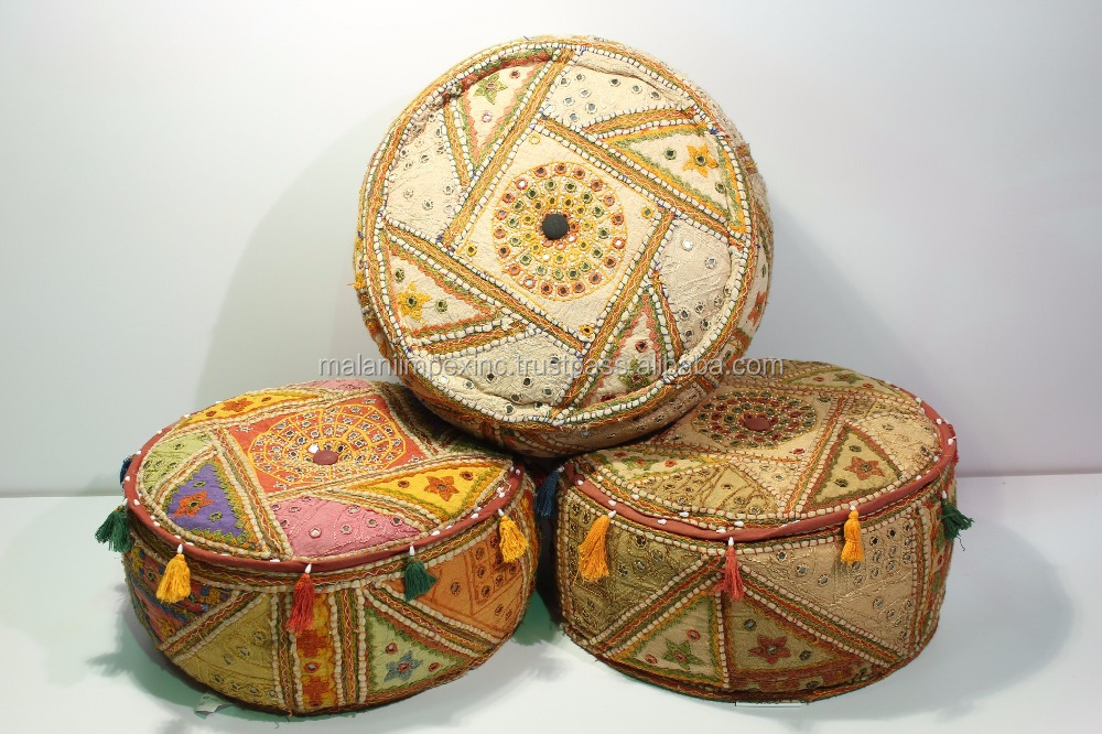 New Design Round Pouf Saras Mirror Handwork Ottoman Living Room Pouf Footstool