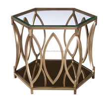 IRON HEXAGONAL COFFEE TABLE WITH GLASS TOP