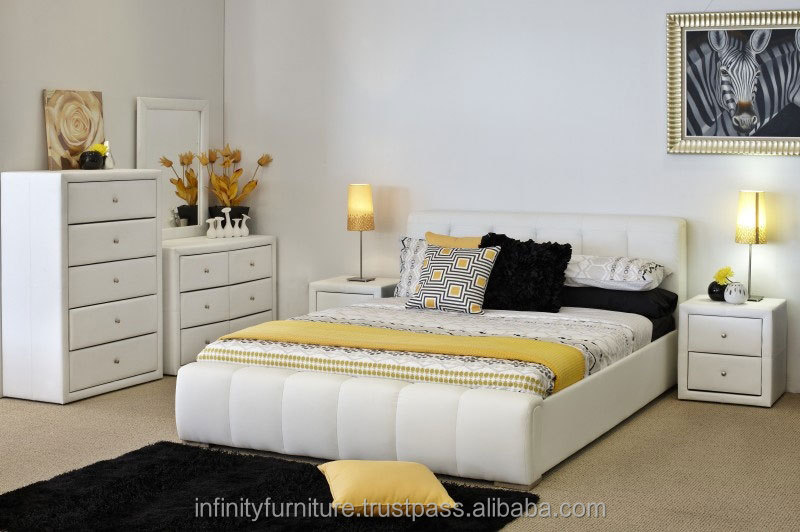 TOP SELLING MODERN BEDROOM SET, WHITE SERIES, KING SIZE BED