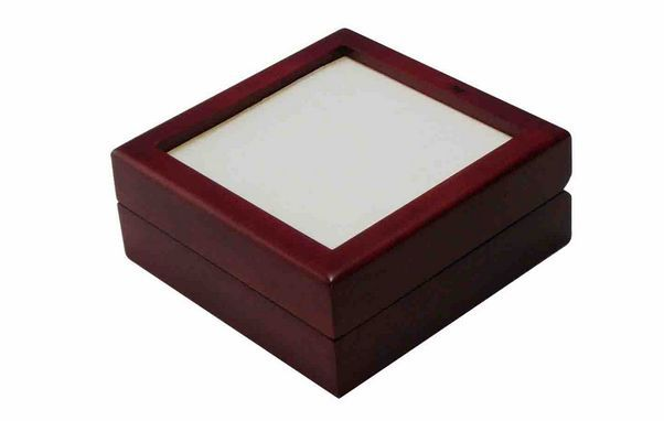 Sublimation Ceramic Tile Lid Unfinished Wooden Jewellery Box