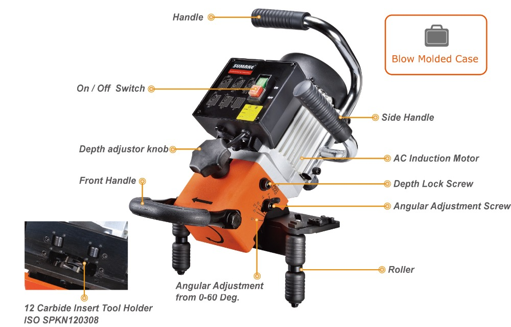 portable plate beveling machine