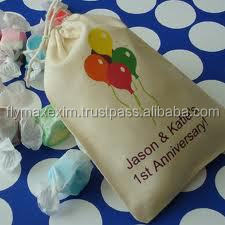 4 x 5 Cotton Muslin Drawstring Bags for Wedding Favors, Birthday Parties
