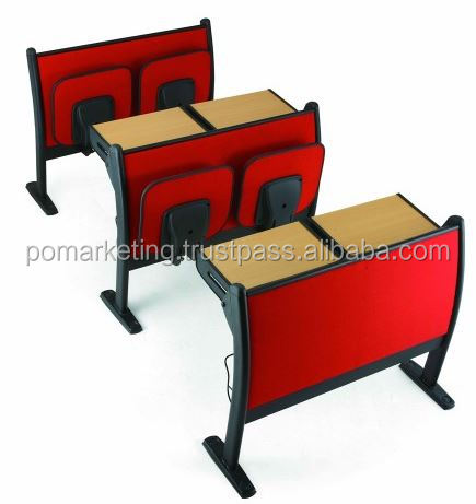 Lecture room school desk and folding chair